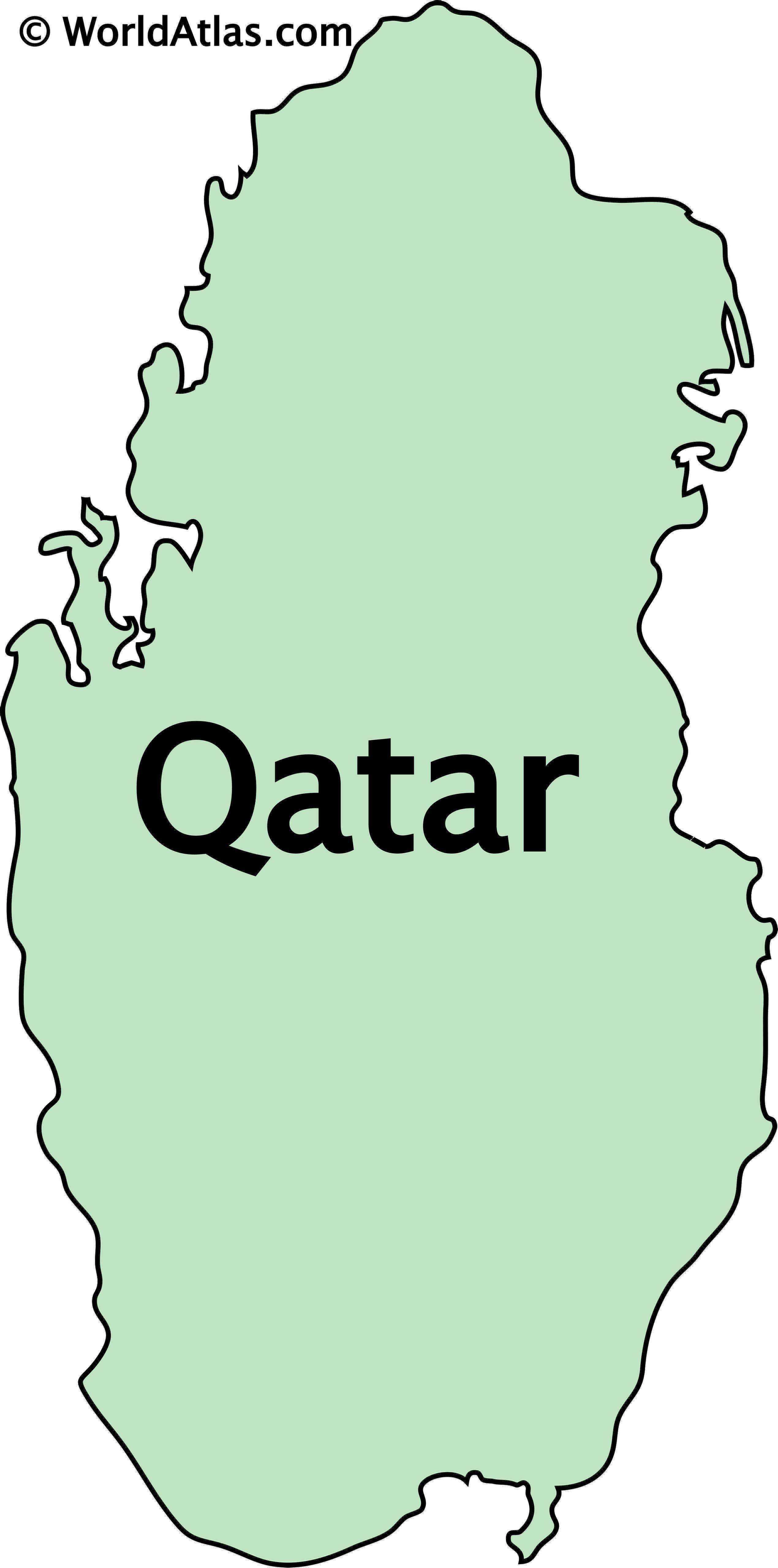 Outline Map of Qatar