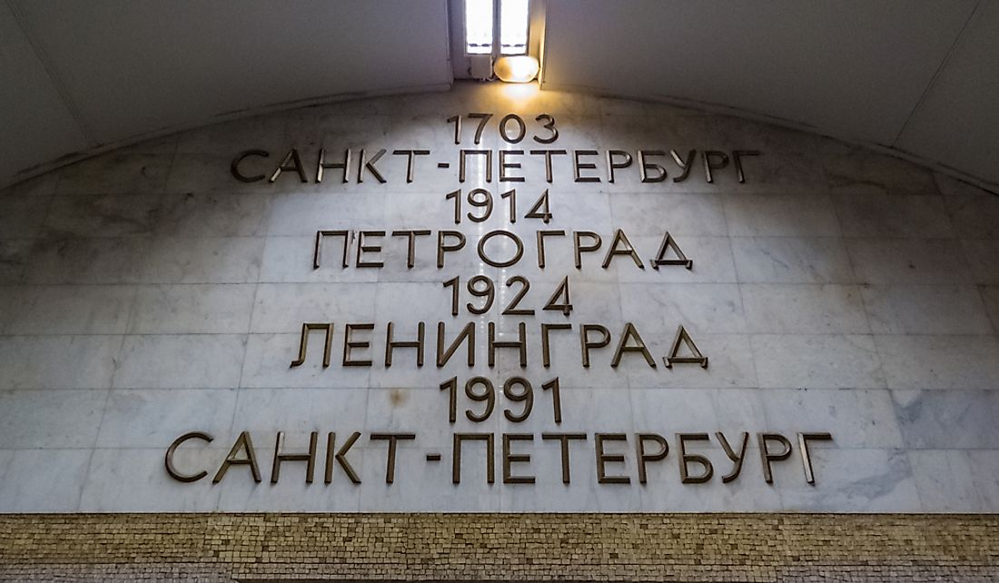 List of city names from Saint Petersburg in 1703 to Petrograd in 1714, Leningrad in 1924, and back to Saint Petersburg in 1991.