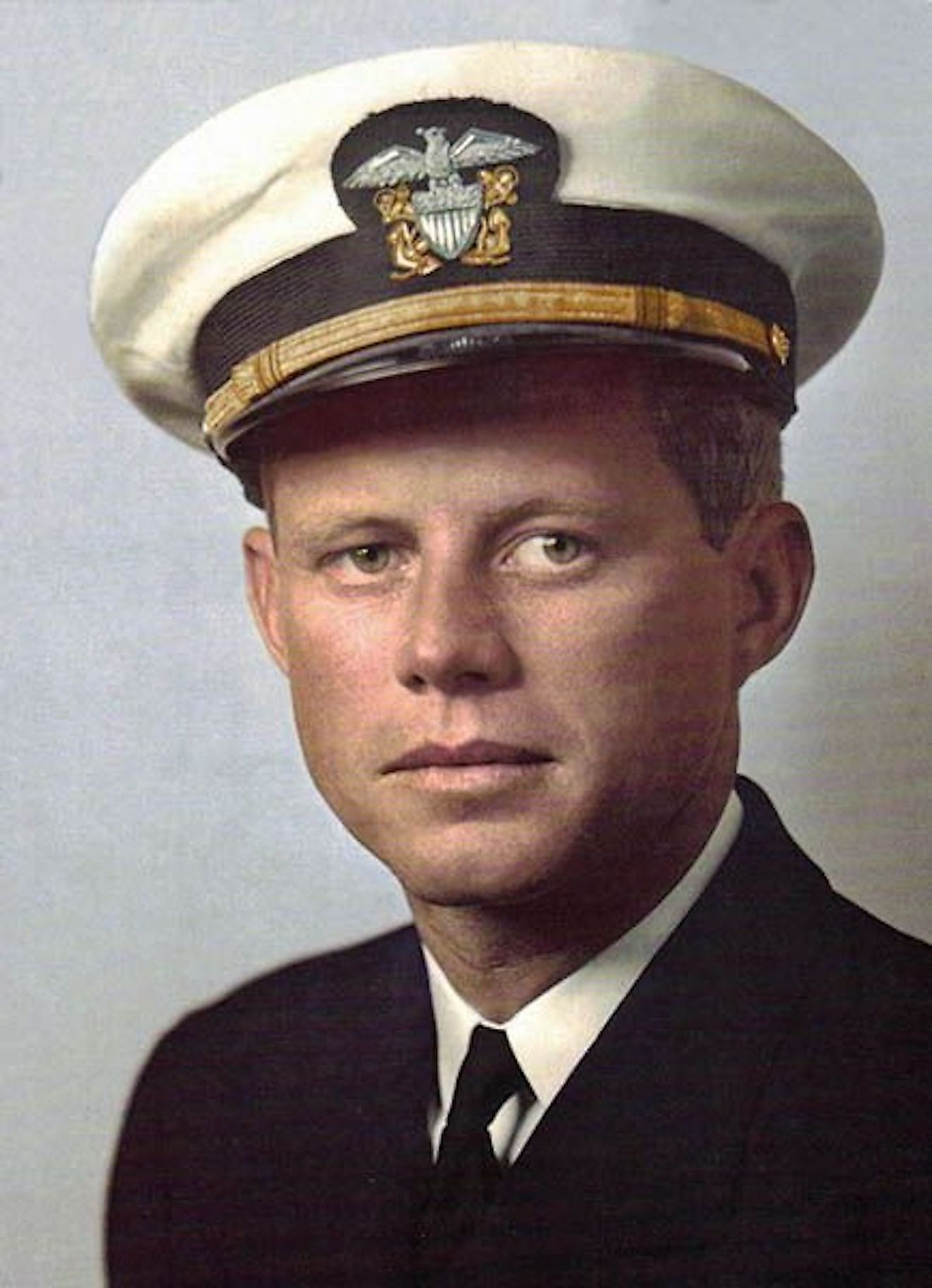 John F. Kennedy joined the Naval Reserve in 1941. Image credit: Pinterest.com