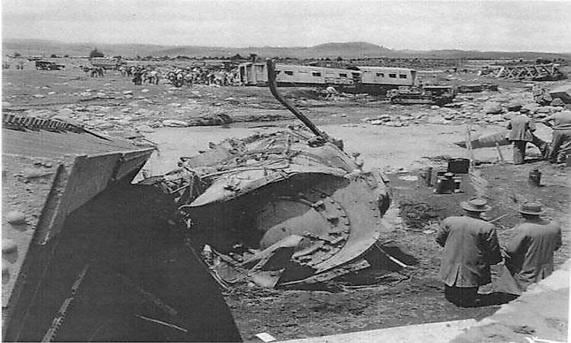 The wreckage of the Wellington-Auckland express involved in the Tangiwai disaster.