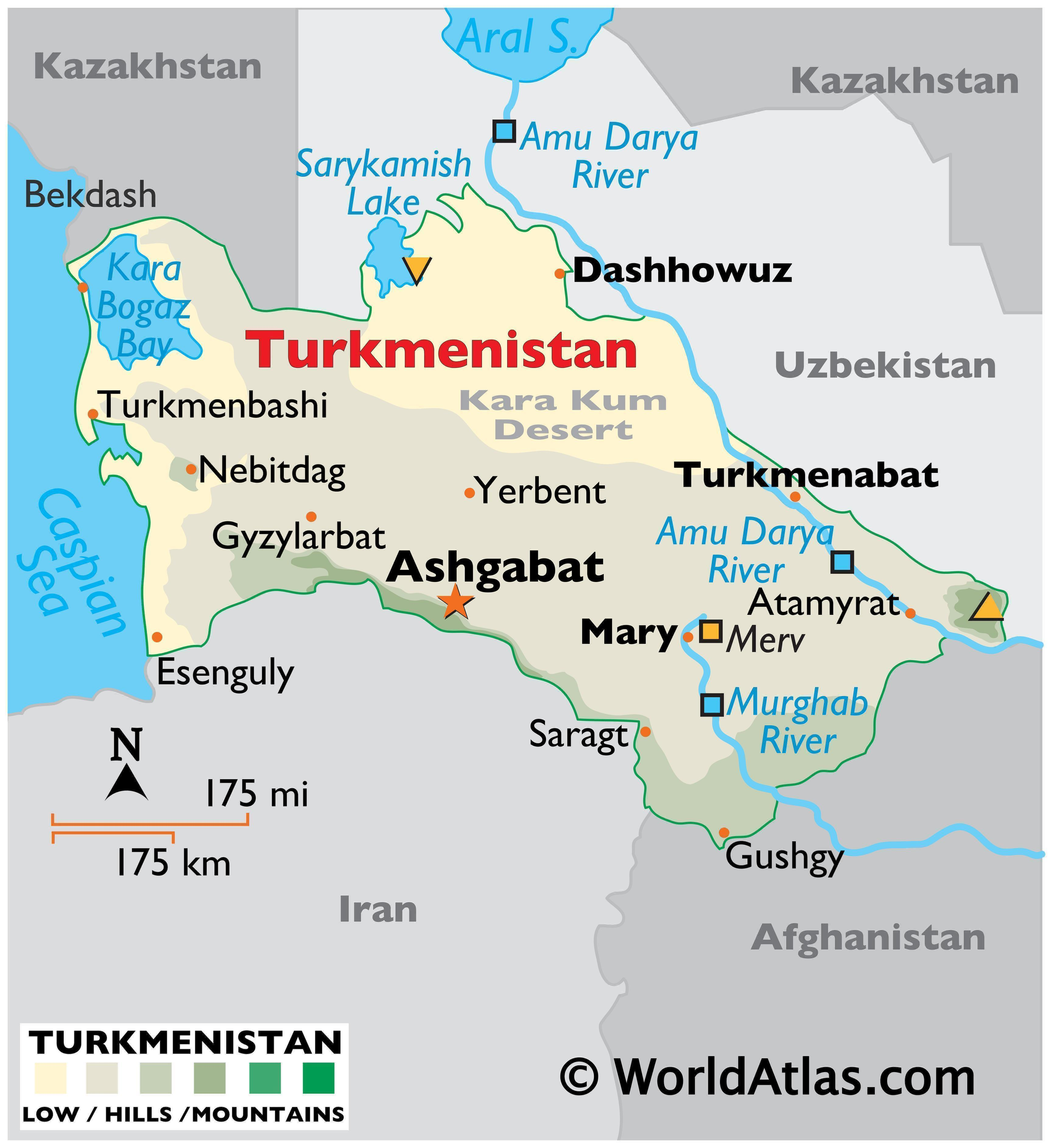 Physical Map of Turkmenistan with state boundaries, relief, major rivers, lakes, highland areas, highest peak, important cities, and more.