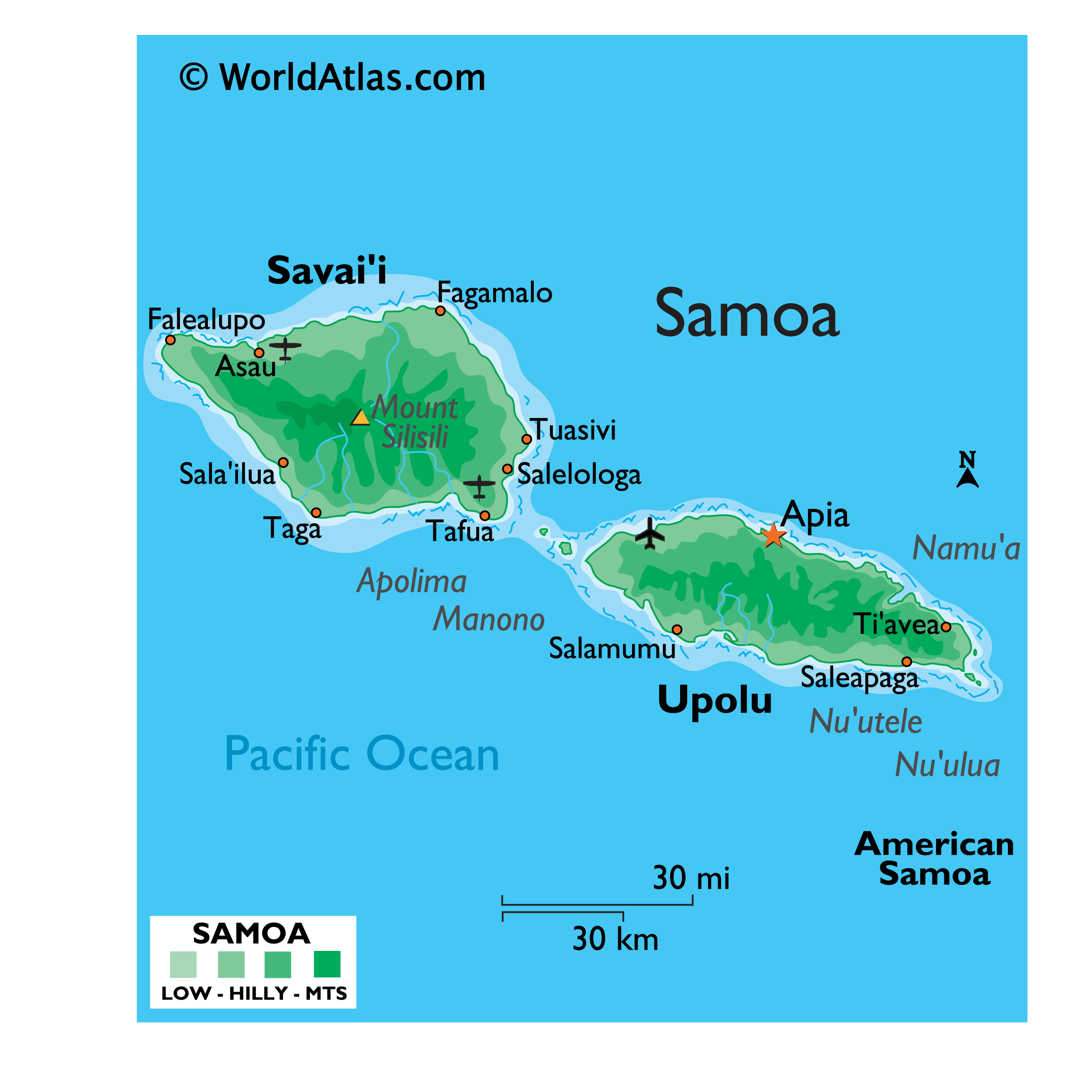 Physical Map of Samoa showing relief, major islands, highest point, important settlements, etc.