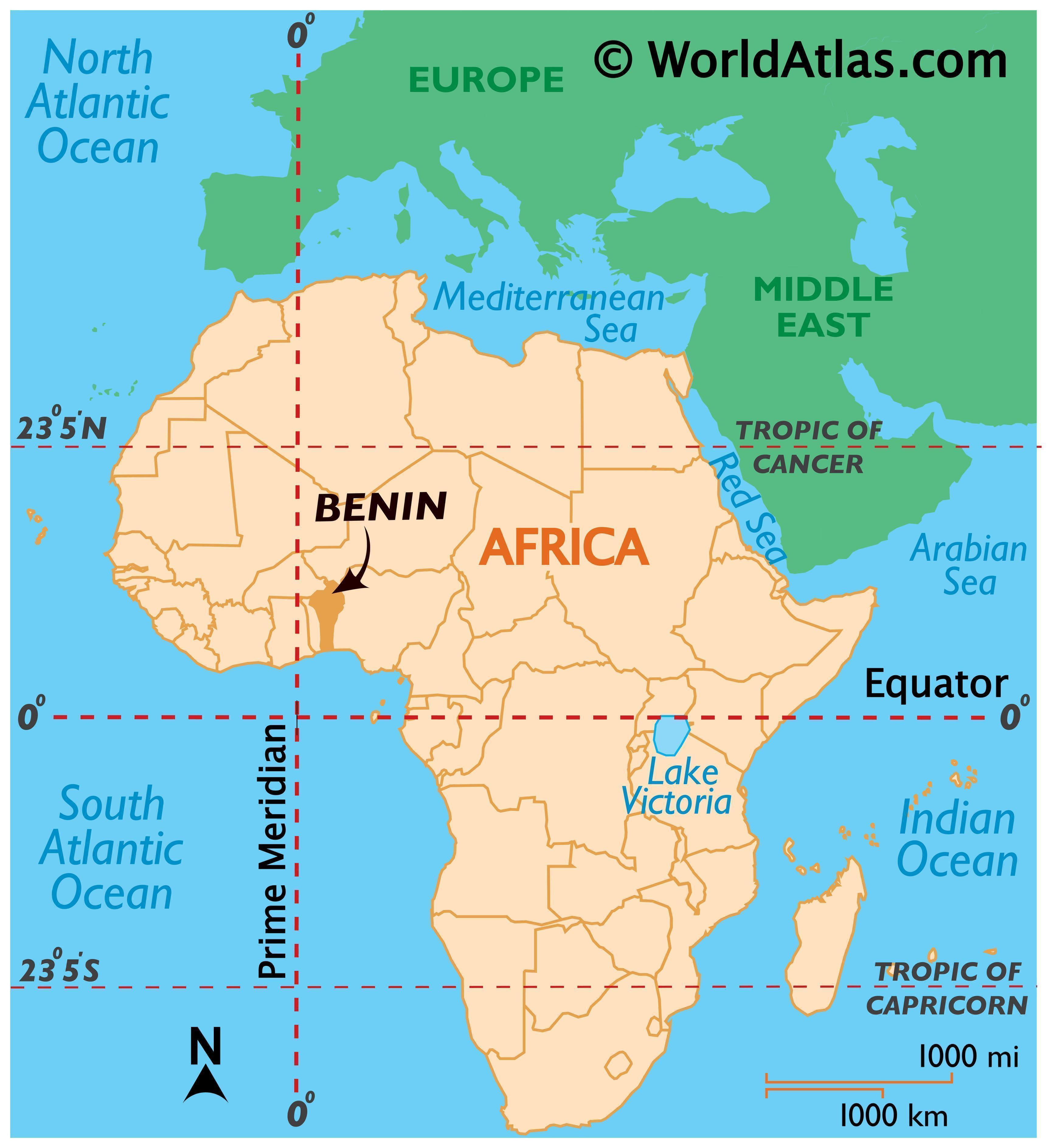 Map showing location of Benin in the world.