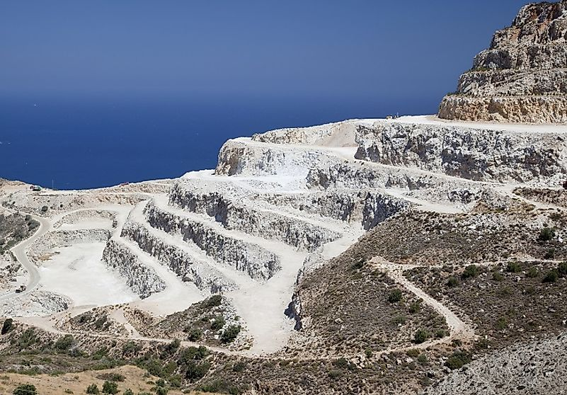 A French gypsum quarry along the Mediterranean coastline used to source Calcium Sulfate to make Pastel Chalk.