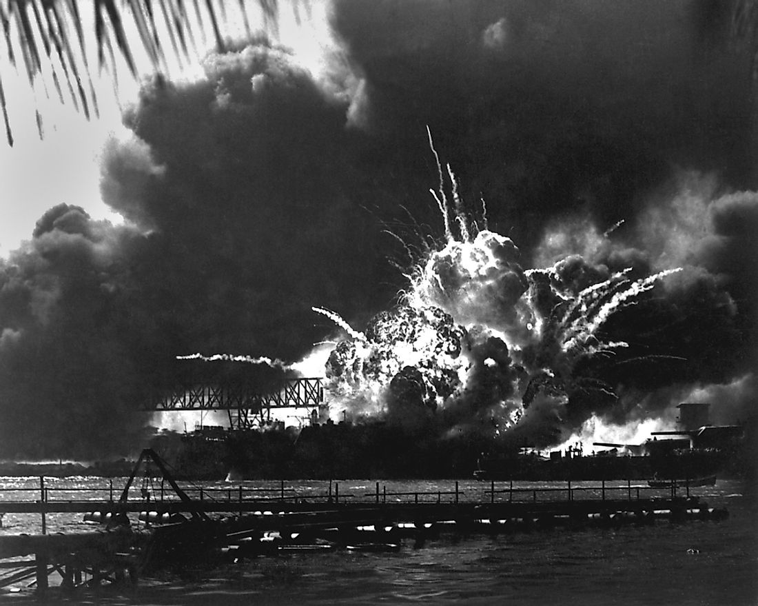 The explosion of the USS Shaw in Pearl Harbor.