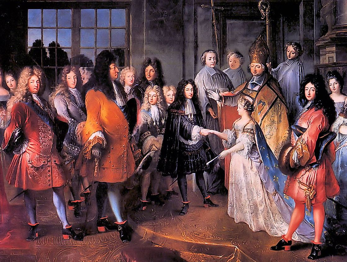 Child marriage in 1697 of Marie Adélaïde of Savoy, age 12 to Louis, heir apparent of France age 15.