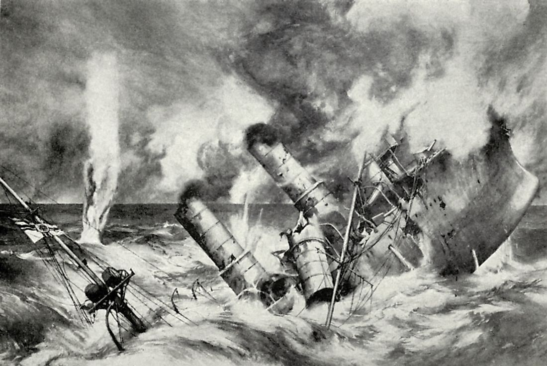 The Battle of Jutland of World War I was one of the largest naval battles in history.