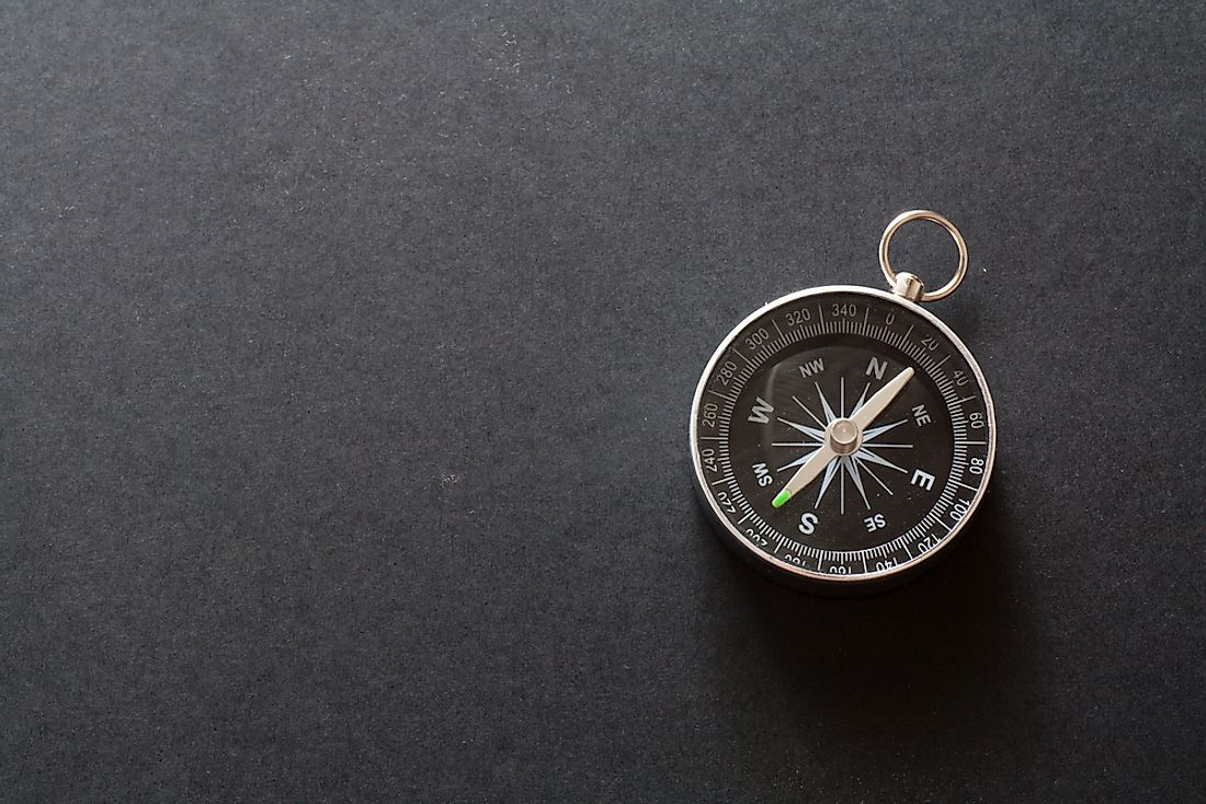 A compass showing magnetic north.