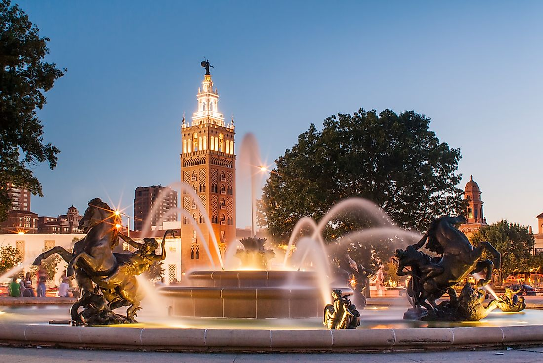 The J.C. Nichols Memorial Fountain, by Henri-Léon Gréber, is one of the most famous fountains in Kansas City, Missouri.