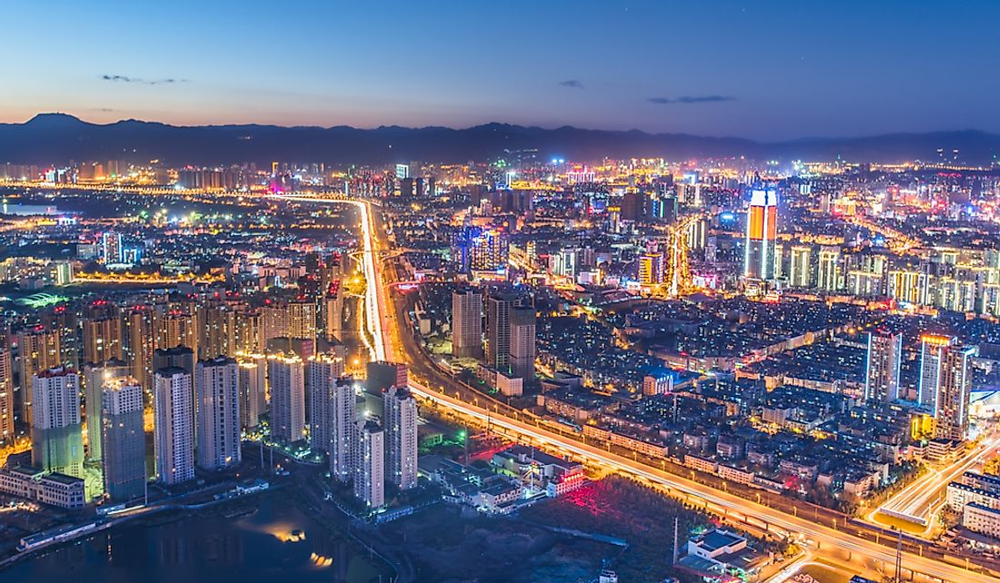 Kunming, the provincial capital of Yunnan, aglow at night.