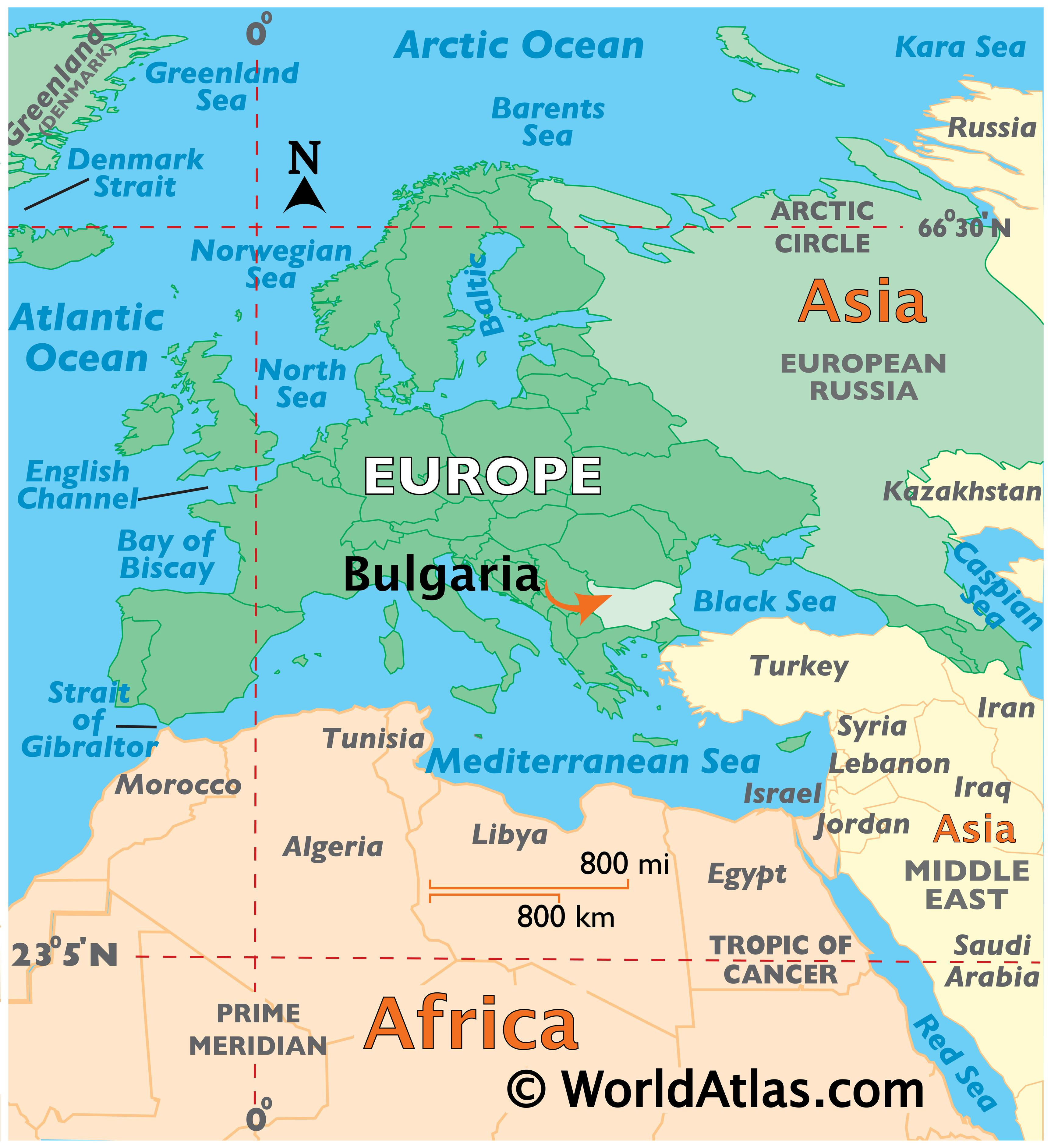 Map showing location of Bulgaria in the world.