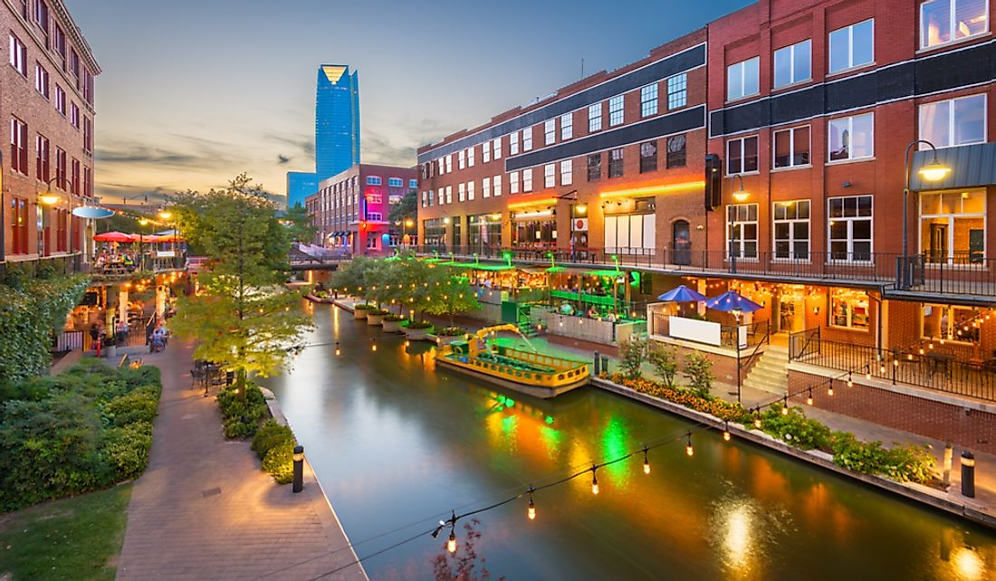 The Bricktown district along the Bricktown Canal in Oklahoma City, Oklahoma.