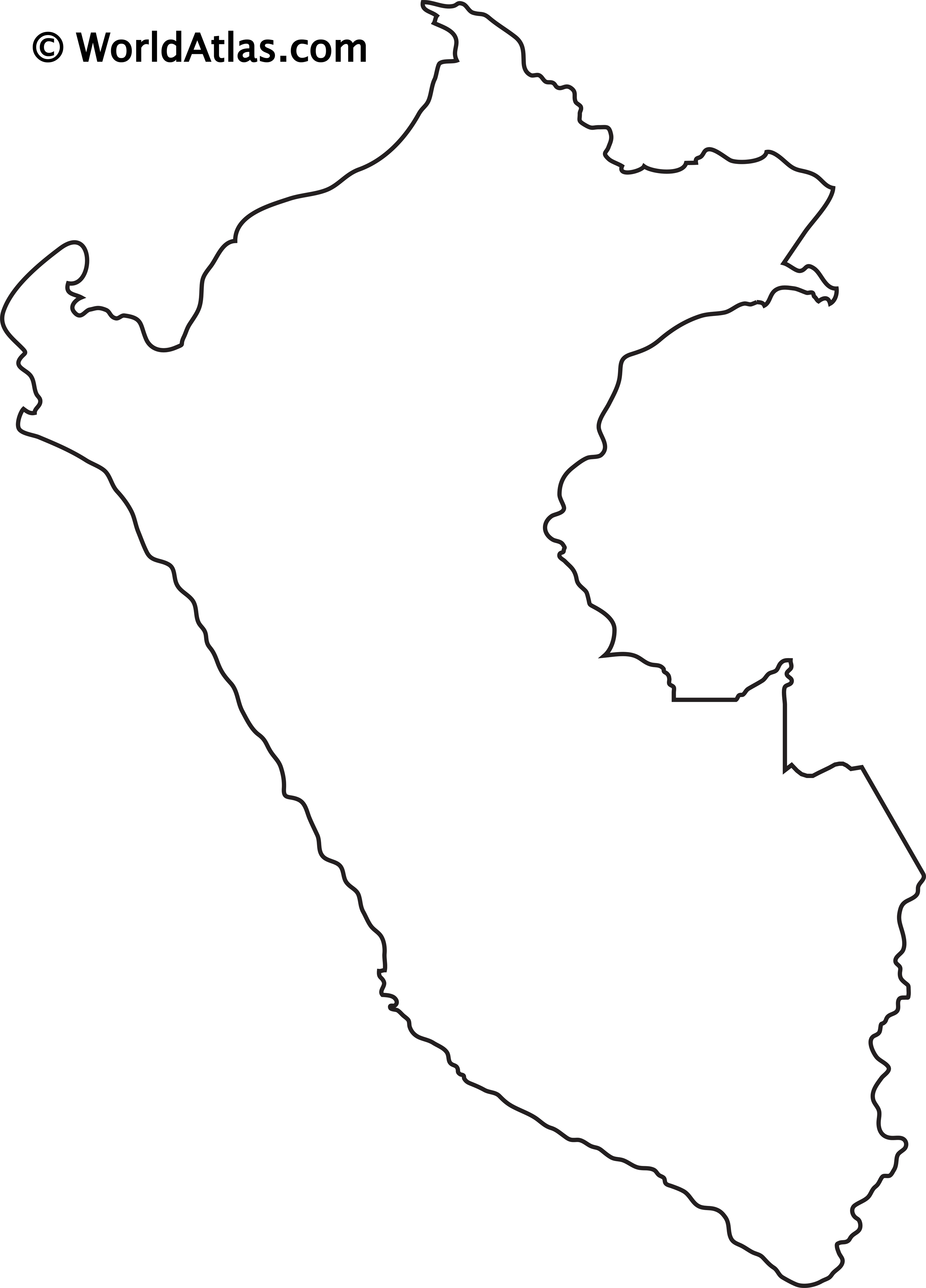 Blank Outline Map of Peru