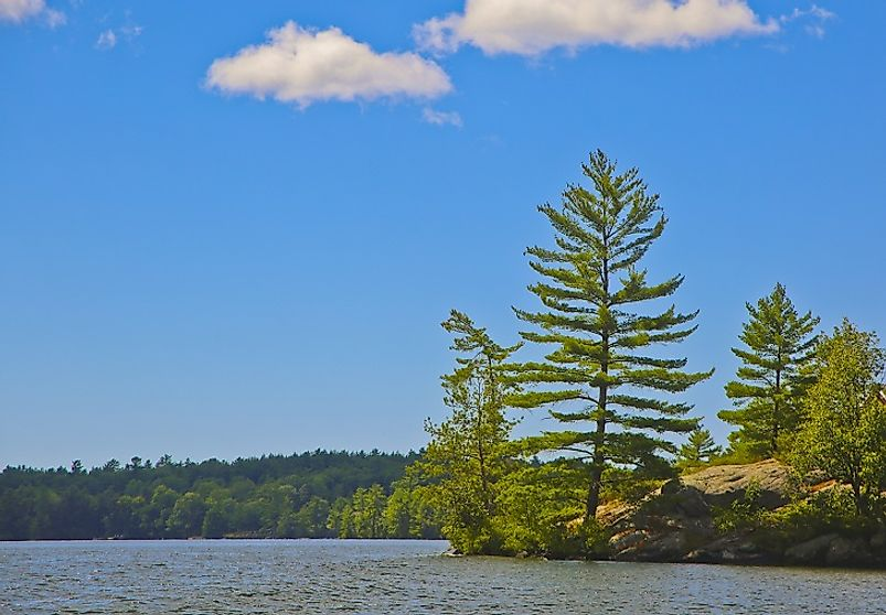 Pine-covered island in Georgian Bay, in the Canadian portion of Lake Huron.