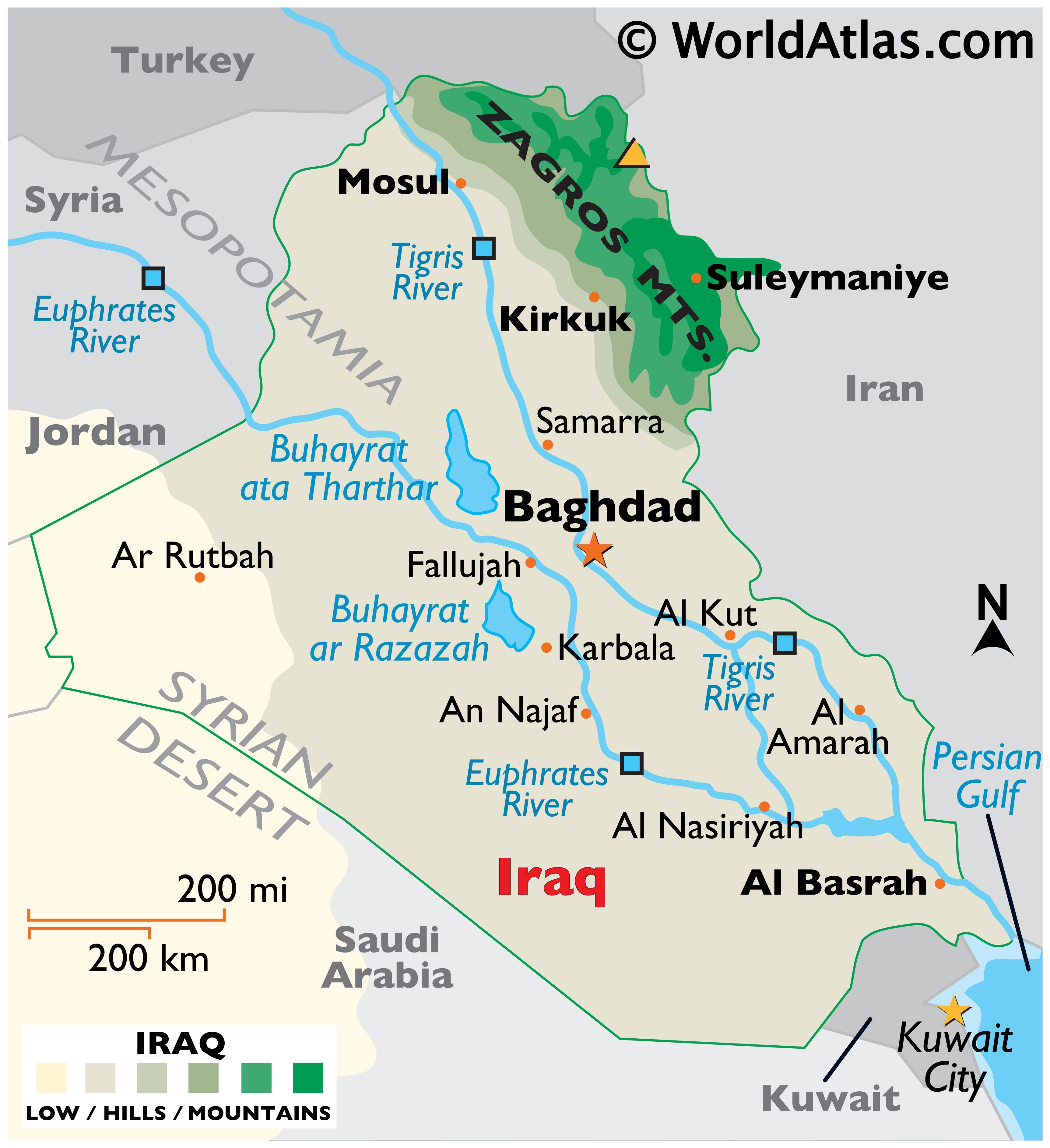 Physical Map of Iraq showing state boundaries, relief, the Zagros Mountains, major rivers, highest point, major lakes, important cities, and more.