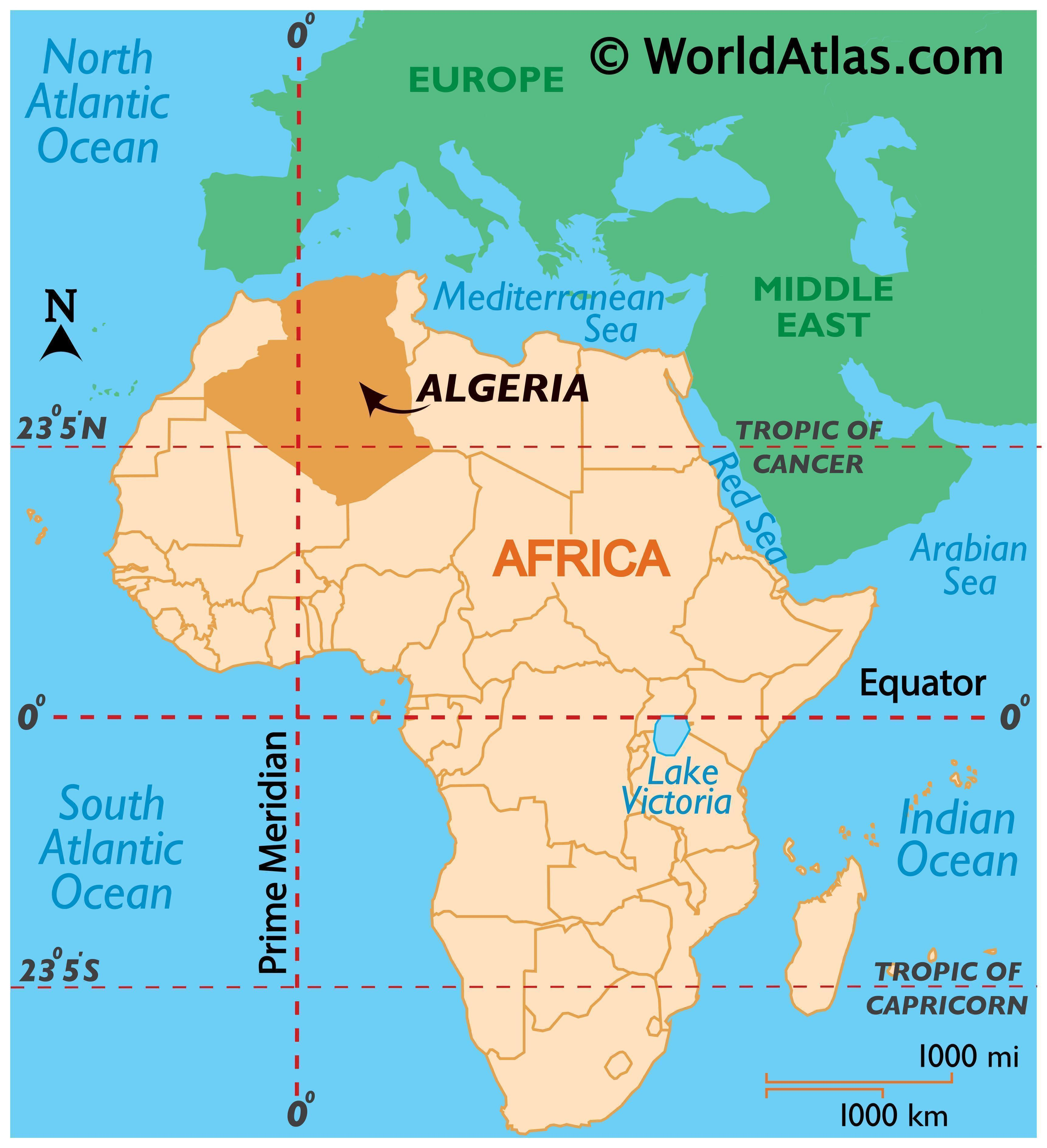 Map showing location of Algeria in the world.