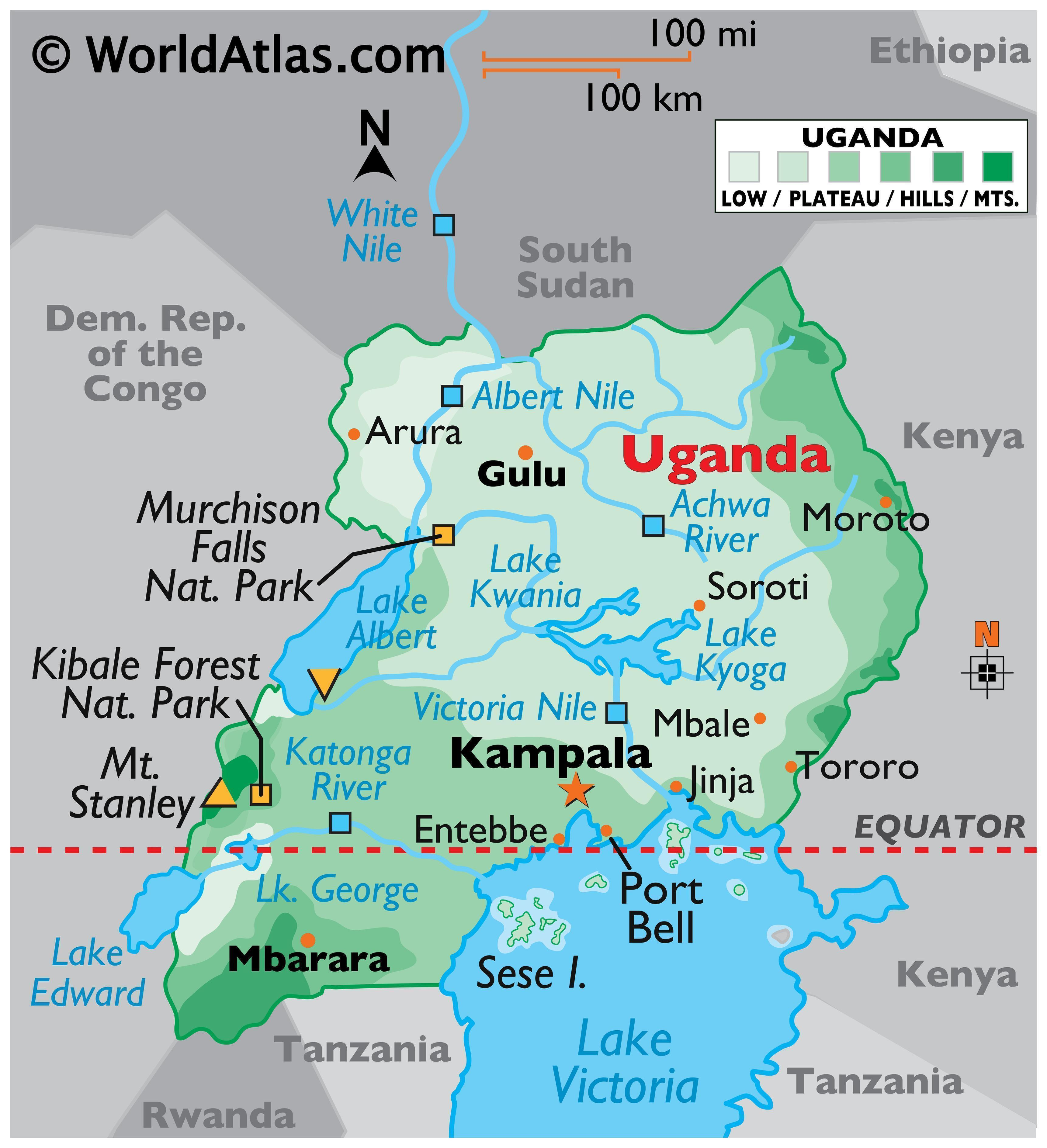 Physical Map of Uganda showing the state boundaries and major physical features like mountain ranges, rivers, plateaus, lakes, national parks, and relative location of major cities.