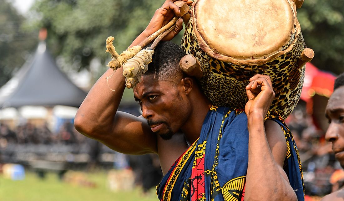Ghanaian musician at the memorial for the Queen Mother of the Asante Kingdom. Editorial credit: Anton_Ivanov / Shutterstock.com