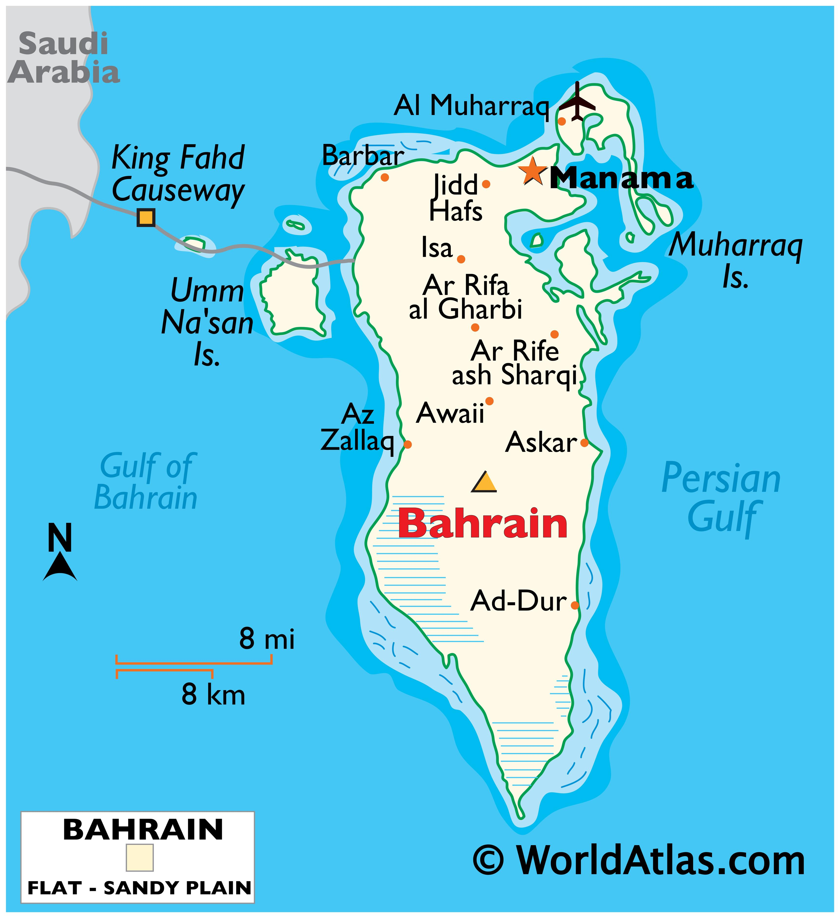 Physical Map of Bahrain showing international boundaries, relief, highest point, important cities, islands etc.