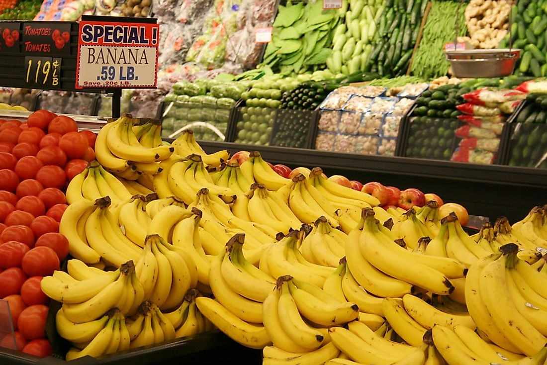 Bananas for sale in a grocery store in the United States.