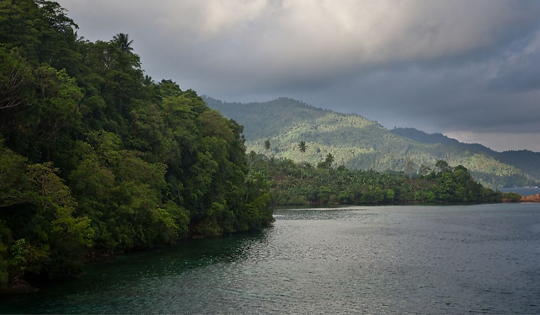 View of the Lembeh Strait off the northeastern tip of Sulawesi Island.