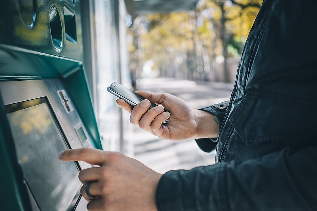 ATM machines are present in virtually every country in the world.