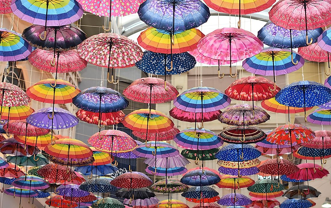 Umbrella decorations in a Dubai mall.