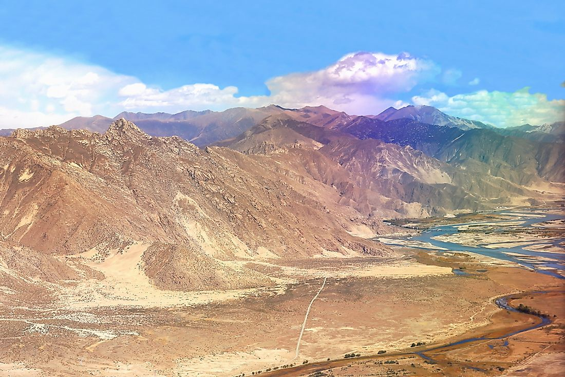 Yarlung Tsangpo flows through the South Tibet Valley starting at an altitude of 14,800 feet.