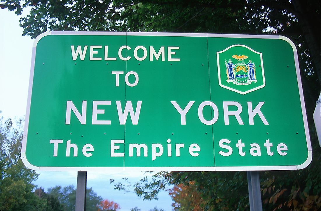 """Welcome to New York"" sign."