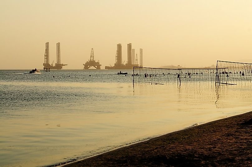Oil extraction platforms in the Caspian Sea off of the coast of Azerbaijan.