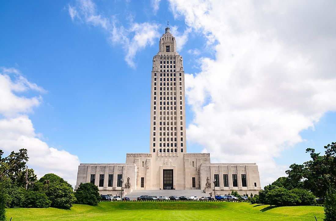 The Louisiana state capitol.