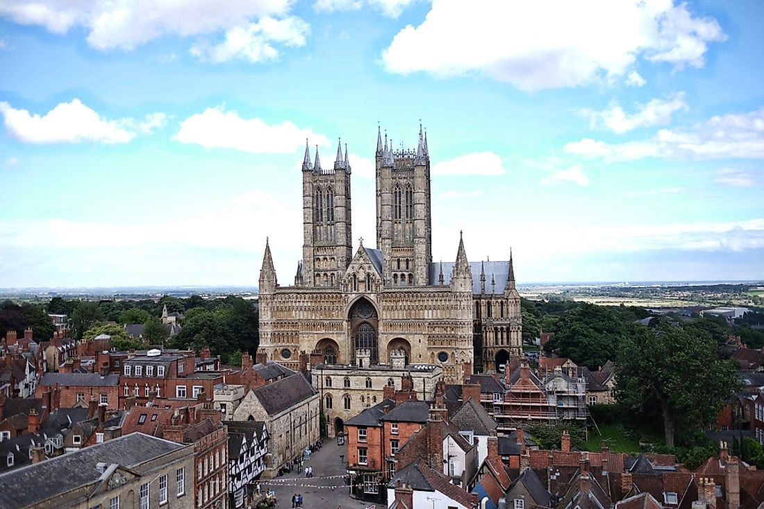 The Lincoln Cathedral dominates the skyline of Lincoln, England.
