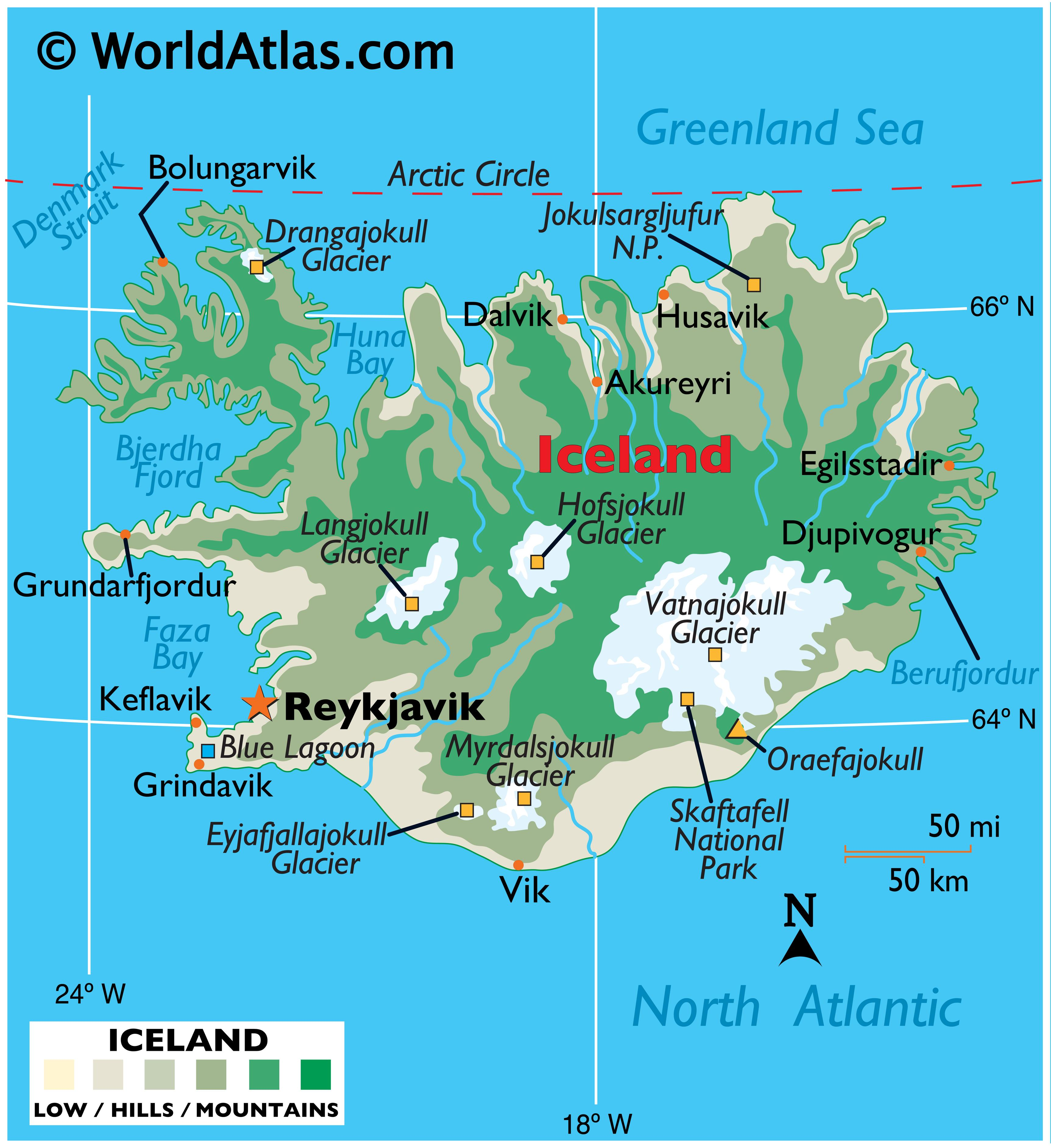 Physical Map of Iceland showing terrain, mountains, extreme points, glaciers, fjords, bays, etc.
