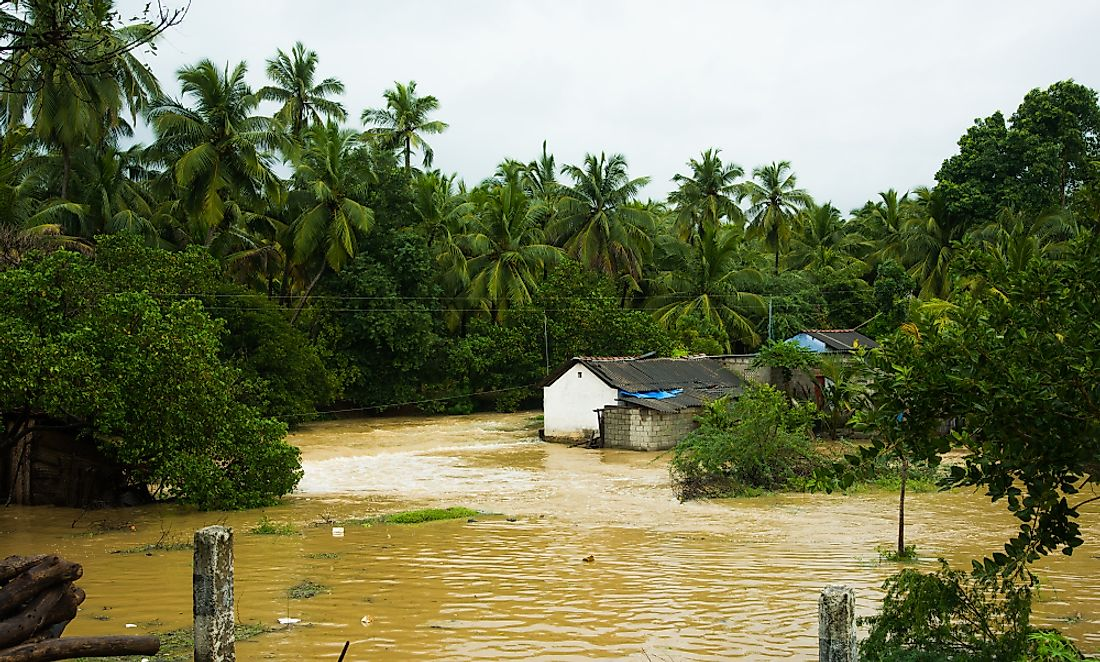 The flooding aftermath of a cyclone in India. India is very prone to natural disasters.