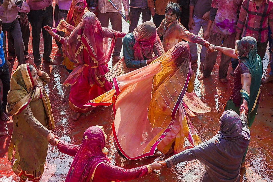Celebration of Holi in Nandgaon, India.  Editorial credit: Harjeet Singh Narang / Shutterstock.com