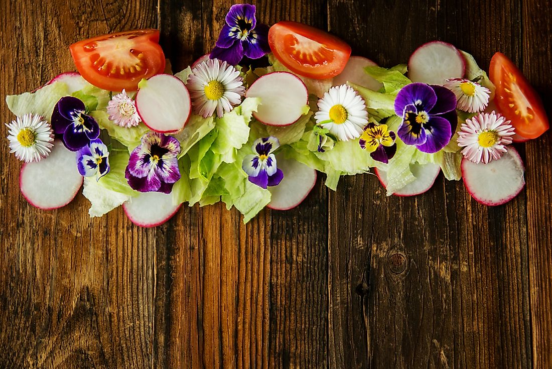 Salad leaves with herbs and flowers