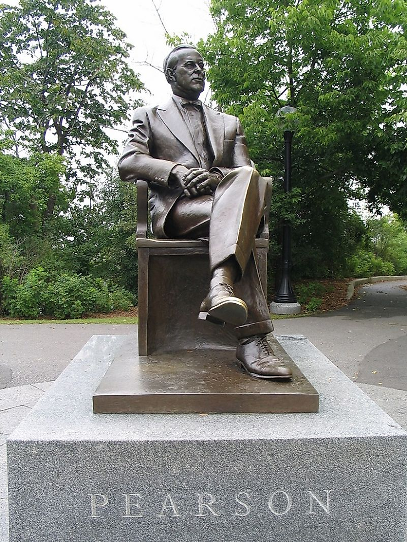 Copper and bronze monument honoring Lester B. Pearson in Ottawa, Ontario, Canada.