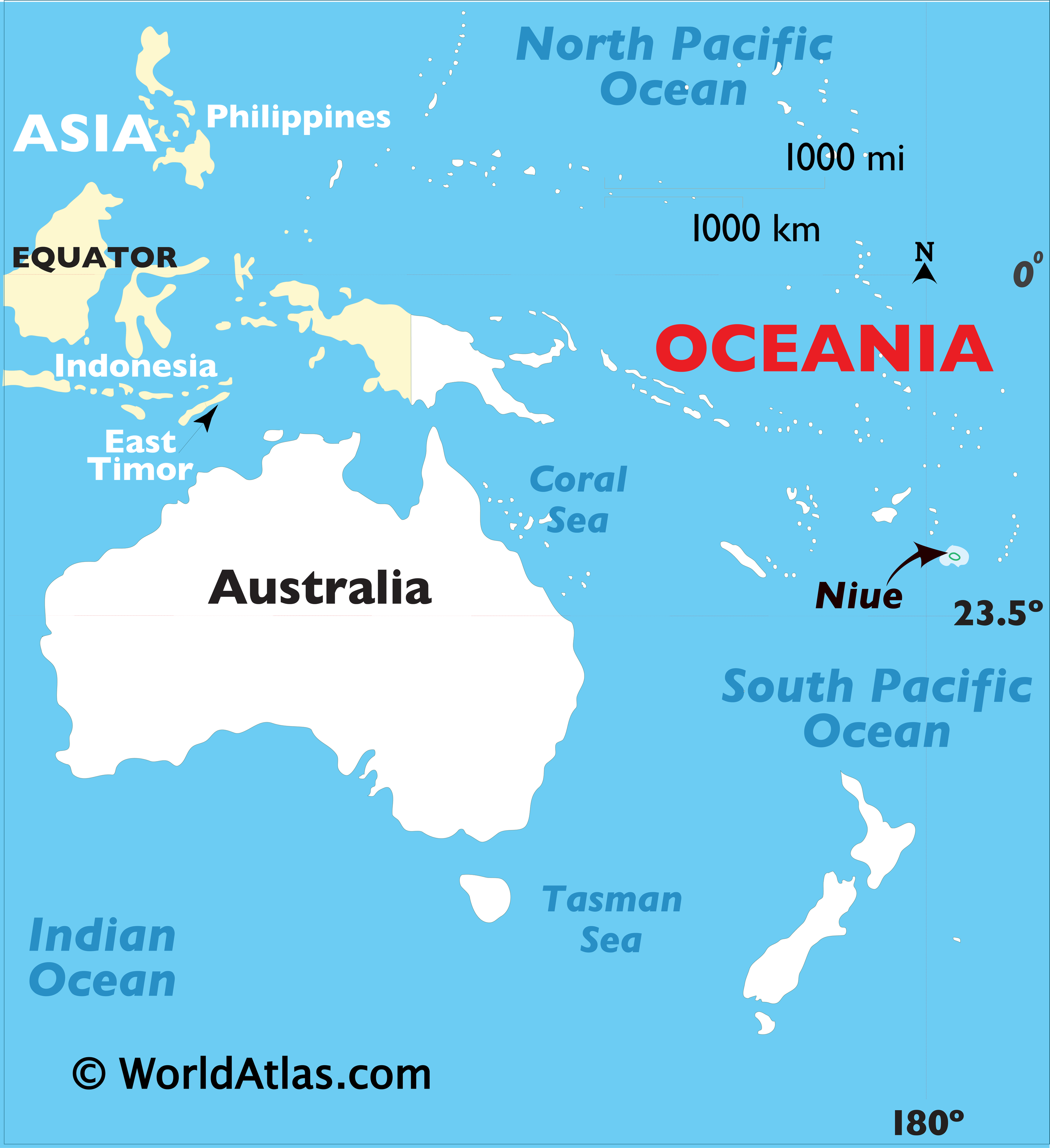 Map showing location of Niue in the world.