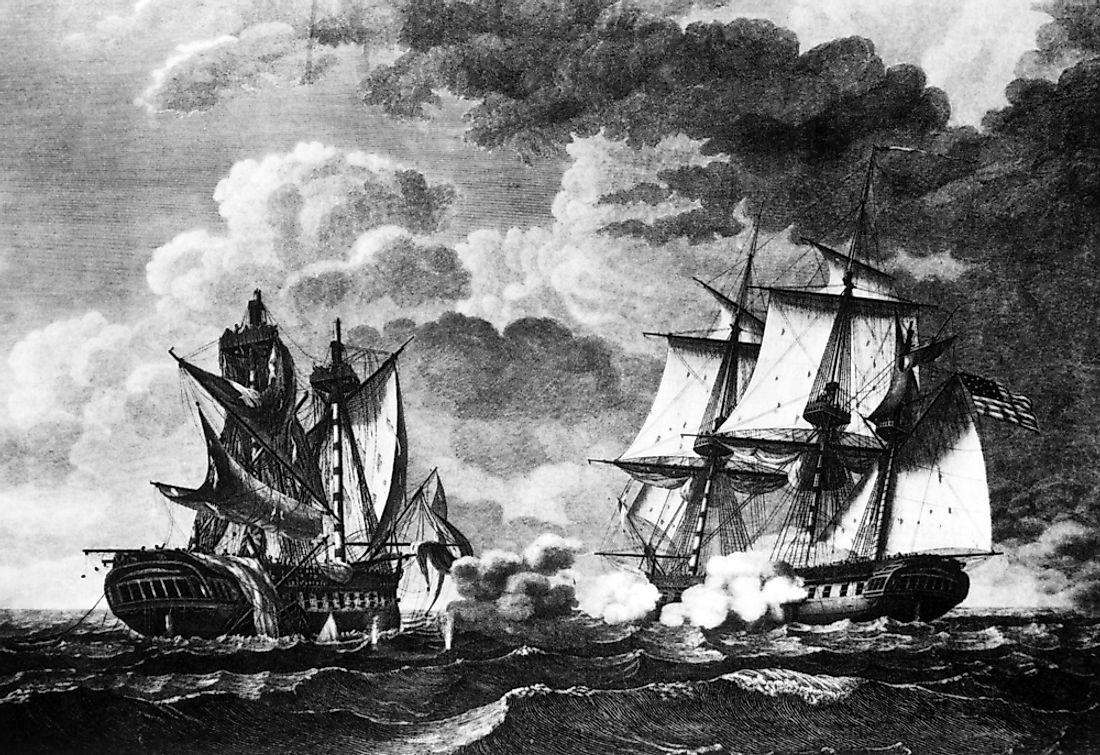 A painting showing a US ship capturing a British ship in the War of 1812.