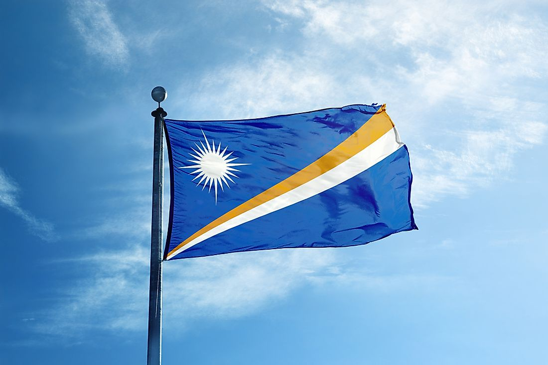 The official flag of the Marshall Islands.