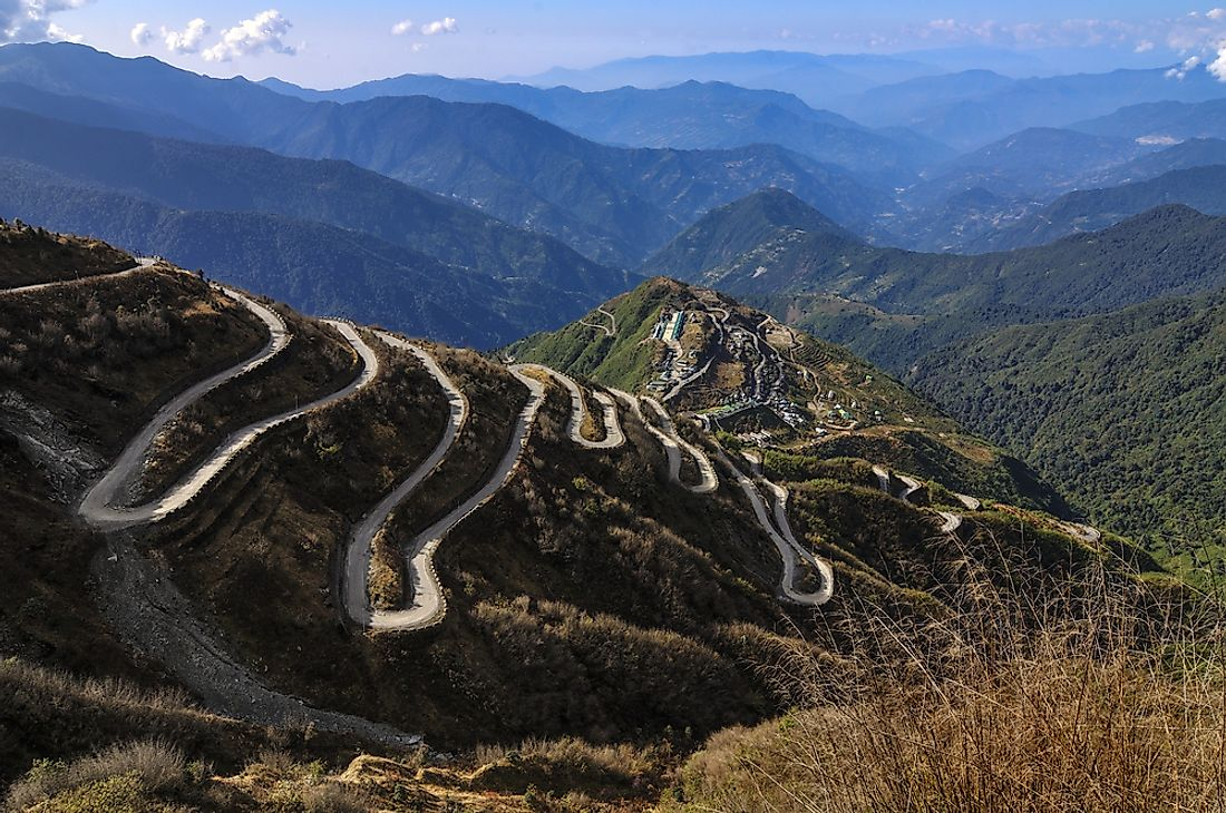Curvy roads in India where the old Silk Road used to pass through.
