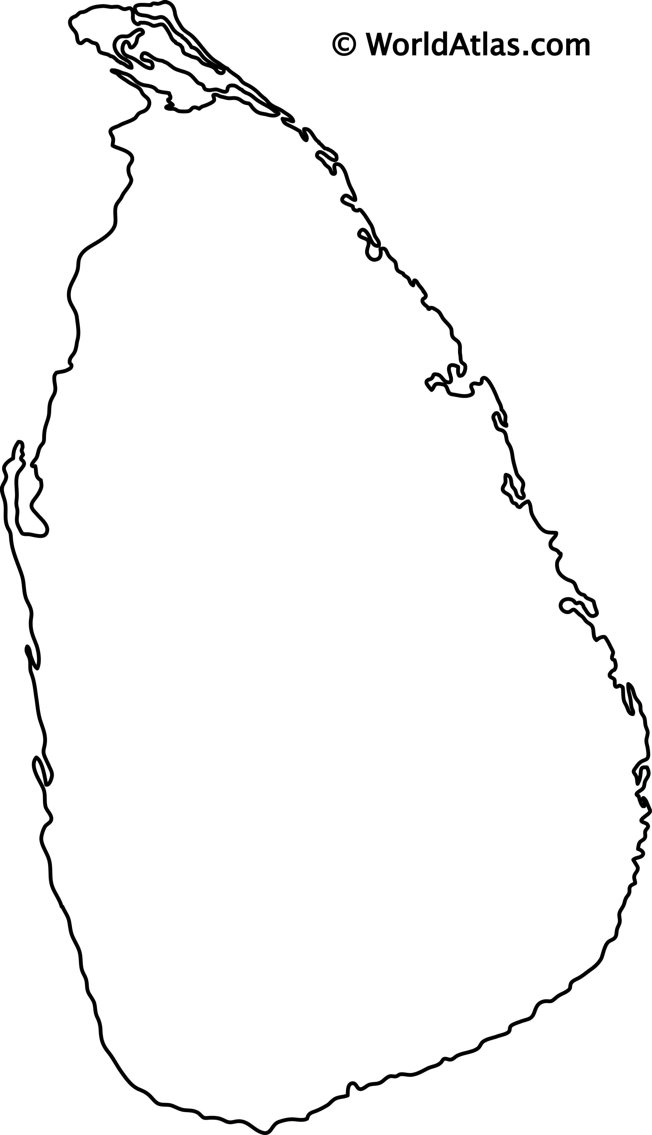 Blank Outline Map of Sri Lanka