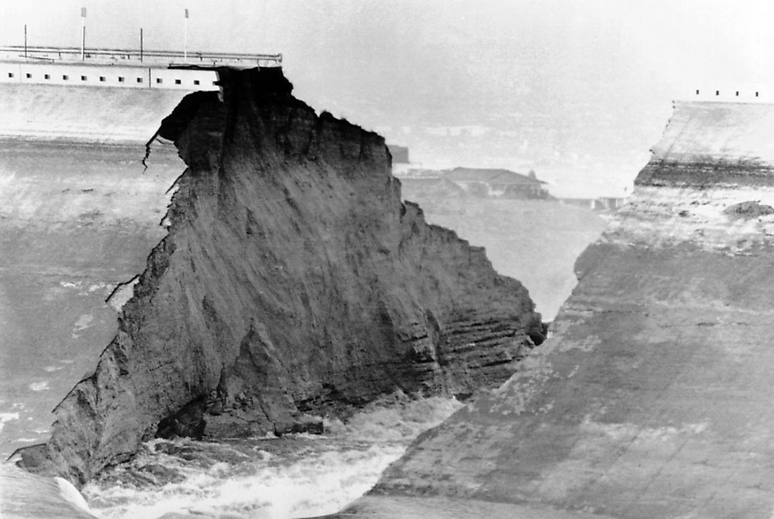 Dam failures can have disastrous consequences, as seen in this photograph taken of the Baldwin Hills Reservoir disaster in California in 1963.