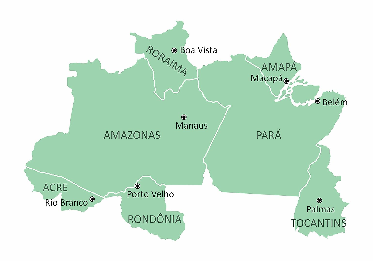 Map of the Brazil north region. Image credit: Luisrftc/Shutterstock.com