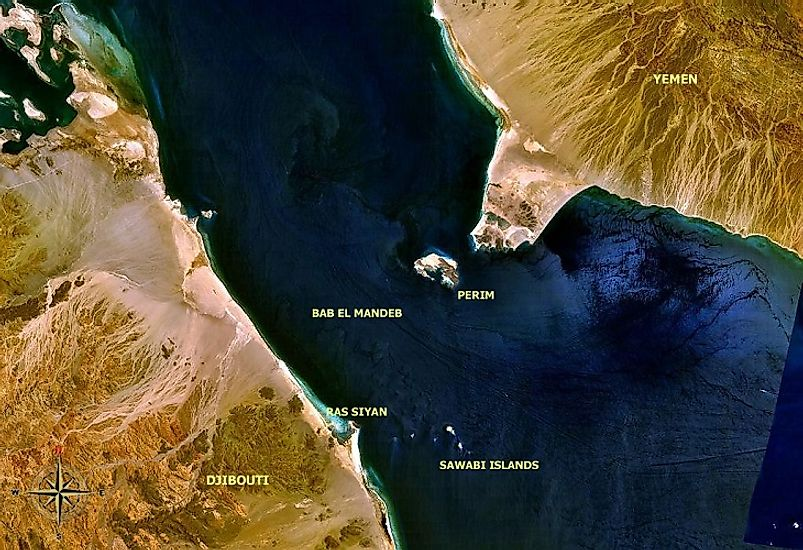 NASA satellite image of the portion of the Bab El-Mandeb Strait passing between Djibouti and Yemen. The Sawabi Islands and Yemen's Perim Island lie in its midst.