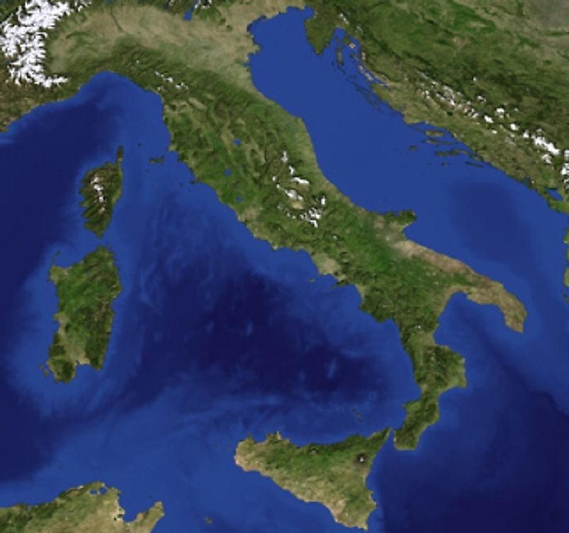 The Italian Peninsula, outlying islands, and neighboring areas, as seen from space.
