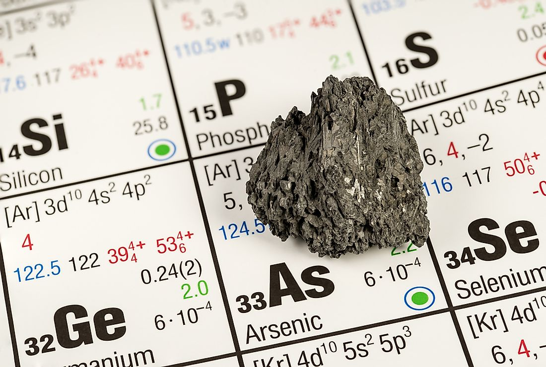 A view of arsenic on the periodic table.