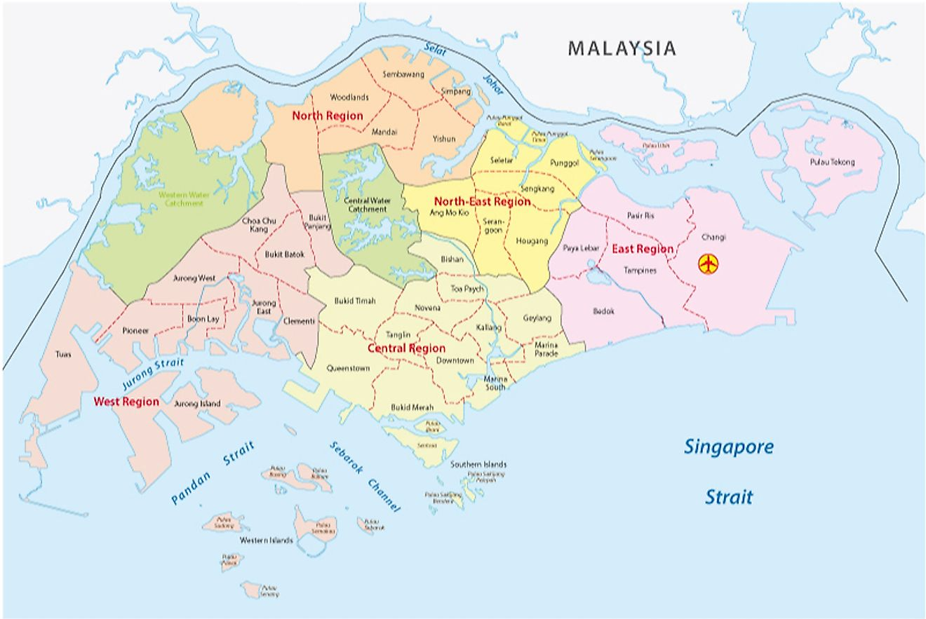 Political Map of Singapore showing the 5 Community Development Councils.