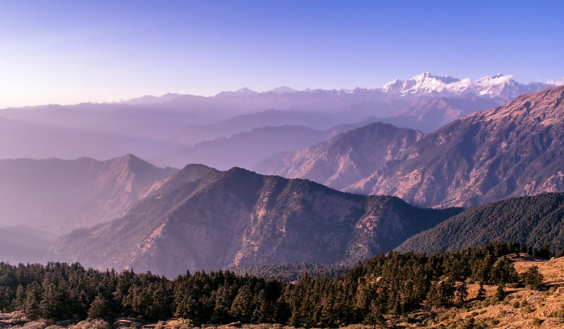 The snow-capped Indian Himalayas.