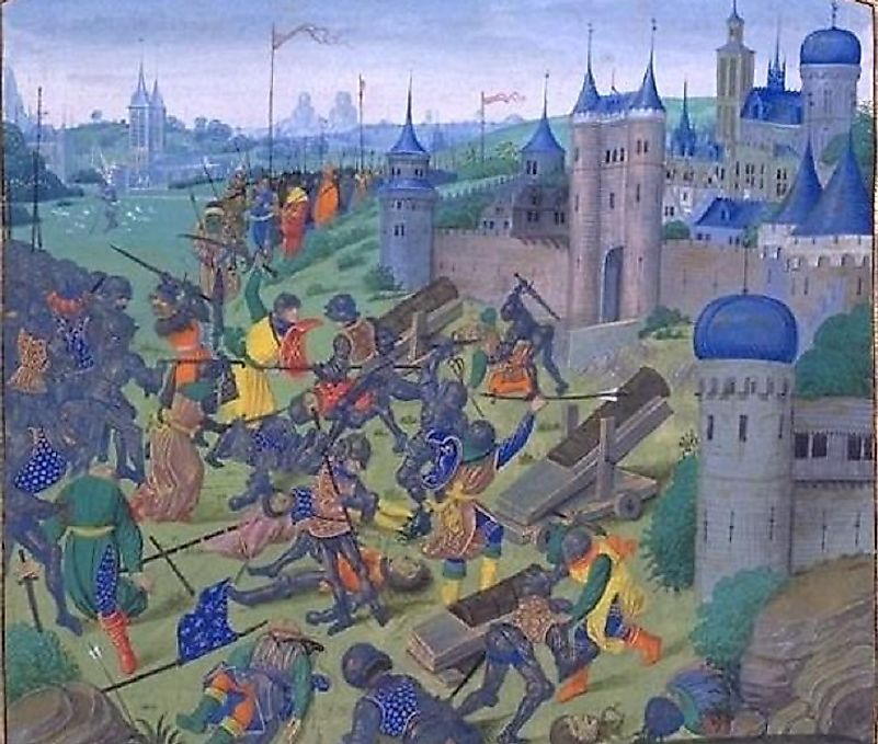 The Ottomans defeating a multinational Crusader Army during the 1396 Battle of Nicopolis in modern Bulgaria.